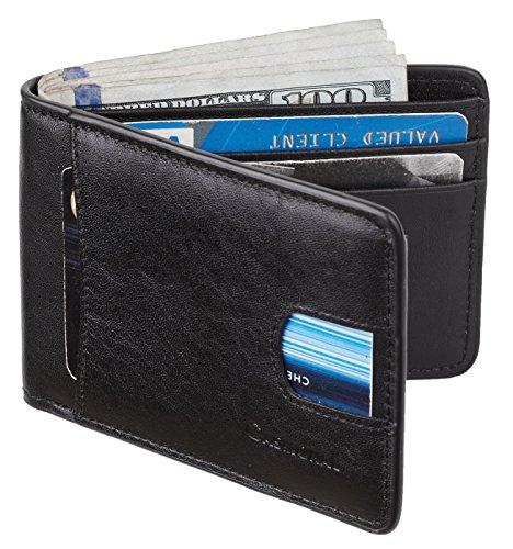 Casmonal Mens Leather Wallet Slim Front Pocket Wallet Billfold RFID Blocking (vintage black 2017)