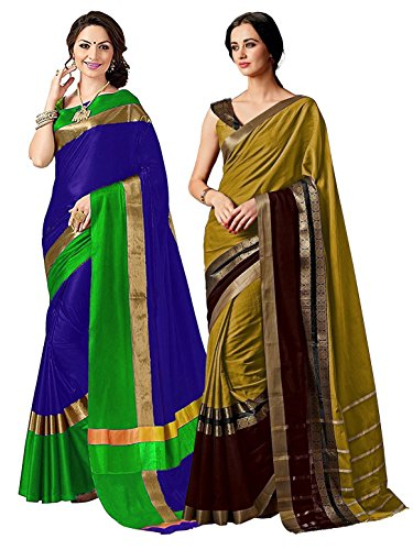 ELINA FASHION Pack of Two Sarees for Indian Women Cotton Art Silk Printed Weaving Border Saree    Sari Combo (Multi - Art Silk Olive Green
