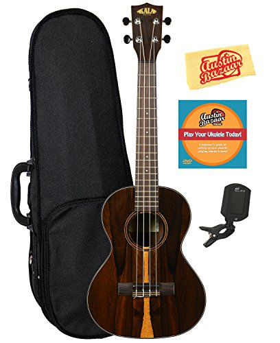 Kala KA-ZCT-T Ziricote Tenor Ukulele Bundle with Hard Case, Tuner, Austin Bazaar Instructional DVD, and Polishing Cloth by Kala