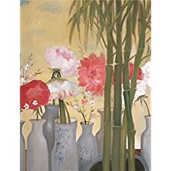 The High Quality Polyster Canvas Of Oil Painting 'Flowers In The Vase And Bamboos' ,size: 16x21 Inch / 41x53 Cm ,this Imitations Art DecorativePrints On Canvas Is Fit For Kitchen Decor And Home Artwork And Gifts