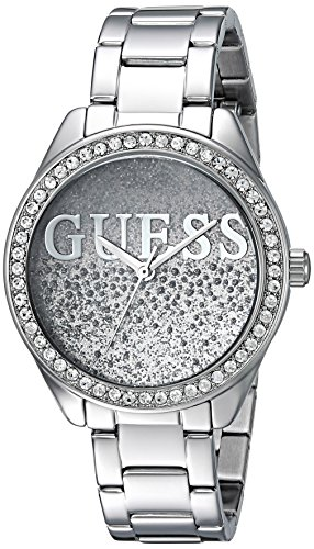 GUESS  Stainless Steel Crystal Logo Glitter Bracelet Watch. Color: Silver-Tone (Model: U0987L1)
