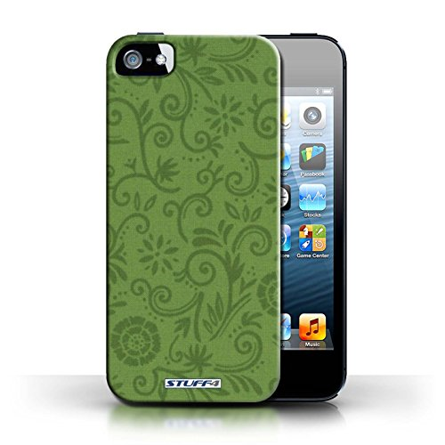 iCHOOSE Print Motif Coque de protection Case / Plastique manchon de telephone Coque pour Apple iPhone 5/5S / Collection Motif Remous floral / Fleur verte