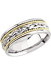 14k Two Tone Gold Men's 8mm Braided Rope Center Comfort Fit Wedding Band