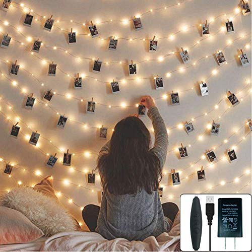 24HOCL 66 Ft 200LEDs Waterproof Starry Fairy Copper String Lights USB Powered for Bedroom Indoor Outdoor Warm White Ambiance Lighting for Patio Halloween Thanksgiving Christmas Party Wedding Decor