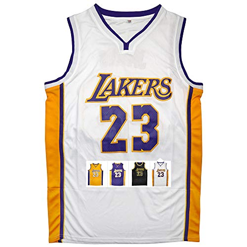 Antsport Gold #23 James Basketball Jersey for Mens S-XXXL (White, XXL) ()