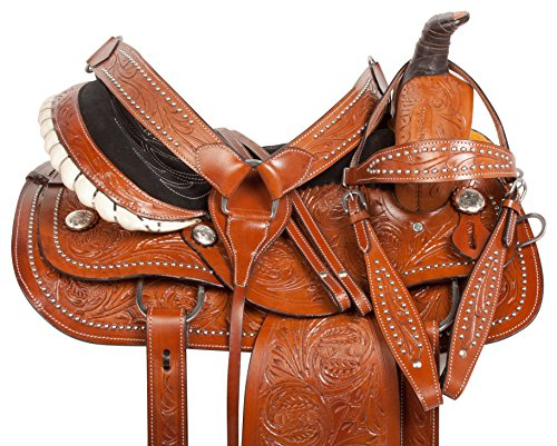 "15"" 16"" WESTERN COWBOY HAND CARVED LEATHER ROPING RANCH RODEO BARREL HORSE SADDLE TACK SET PLEASURE TRAIL (15) (Trail Saddle Pleasure Tack)"