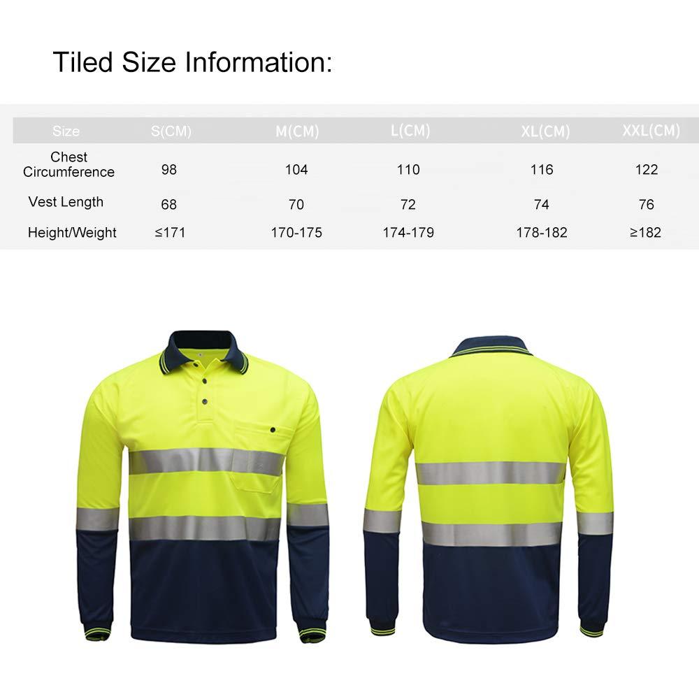 Festnight Hi Vis Alta Visibilidad Camisa Polo Cinta reflectiva Camiseta de Trabajo de Seguridad de Manga Larga Transpirable Ligero Ropa de Trabajo de Cinta de 2 Pulgadas