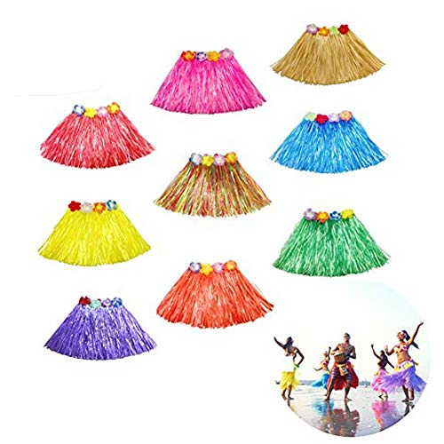 Etyhf 9 Pack Kid's Hula Grass Skirt Multicolor Hawaiian Silk Faux Flower Elastic Luau Hula Grass Skirts for Island Beach Party Favors Dance Dress, 9 Colors]()