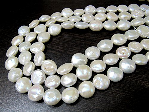 Top Quality Fresh Water Pearl Beads / Natural Coin Shape White Pearl Beads / 12-13mm Size Beads / Strand 16 inches Long / Gemstone Beads