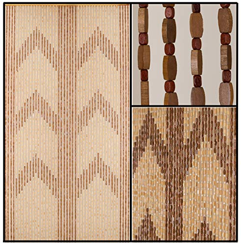 BeadedString Natural Wood and Bamboo Beaded Curtain-45 Strands-77 High-Bamboo and Wooden Doorway Beads-Boho Bohemian Curtain-35.5