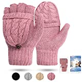 Women's Gloves Thermal Heat Mittens - Digitek Winter Warm Gloves Heat Weaver Cable Knit, Half-Finger Gloves for Ladies and Girls - Christmas Birthday Gift (Light Purple)(Size: One Size)