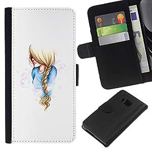 KLONGSHOP // Tirón de la caja Cartera de cuero con ranuras para tarjetas - chica coleta triste azul mujer blanca arte - HTC One M9 //