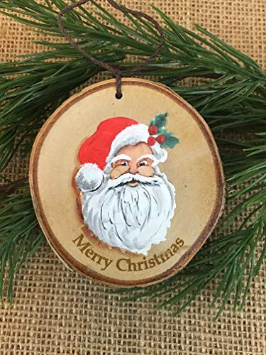 Santa Clause hand painted rustic christmas tree ornament, made from white NH birch tree wood slice, PERSONALIZE IT!!!