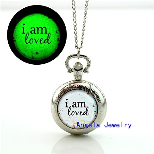 Pretty Lee Fashion I am loved Glowing Pocket Watch Necklace Quote Glass Jewelry Glowing Necklace Pendant