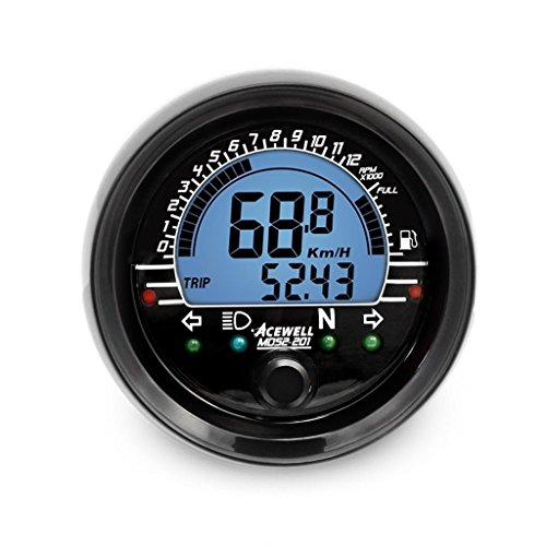 Acewell MD052-201 Waterproof Digital Multi-function Speedometer & Tachometer by DCC Originals