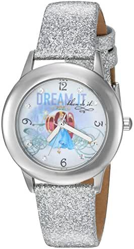 Disney Girl's 'Cinderella' Quartz Stainless Steel and Leather Automatic Watch, Color:Silver-Toned (Model: W002935)