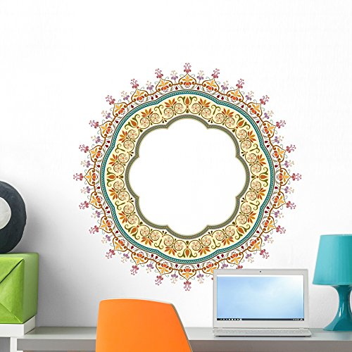 - Wallmonkeys FOT-71366525-24 WM51002 Vector Abstract Circular Floral Frame-Pattern Design Peel and Stick Wall Decals H x 24 in W, 24