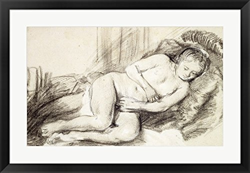 Reclining Female Nude by Rembrandt van Rijn Framed Art Print Wall Picture, Black Frame, 33 x 23 inches