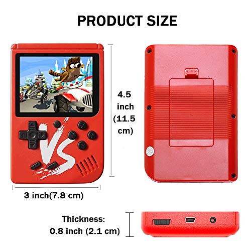 Kalolary Retro FC Handheld Game Console 500 Classic Games, 3 Inch Screen Support TV Video Game Player & 1 Joystick Controller, Birthday Presents for Kids to Adult (Red) by Kalolary (Image #1)