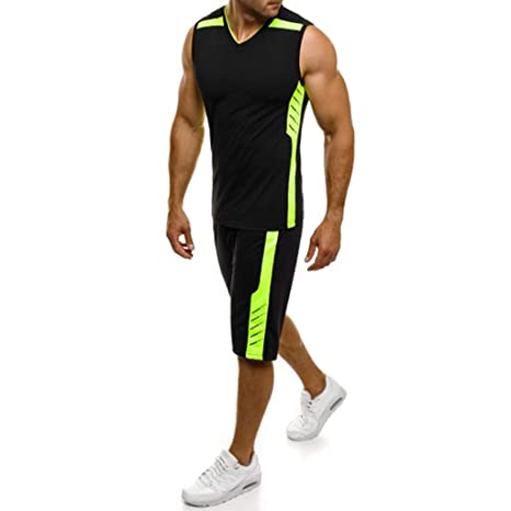 2019 Men s Casual Slim Sleeveless Tank Top T-Shirt Shorts Pants Suit Top  Blouse Valentine s Day Gifts (Black