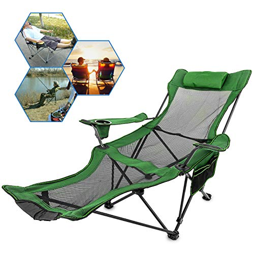 Happybuy Folding Camp Chair with Footrest Mesh, Lounge Chair with Cup Holder and Storage Bag, Reclining Folding Camp Chair for Camping Fishing and Other Outdoor Activities (Green)