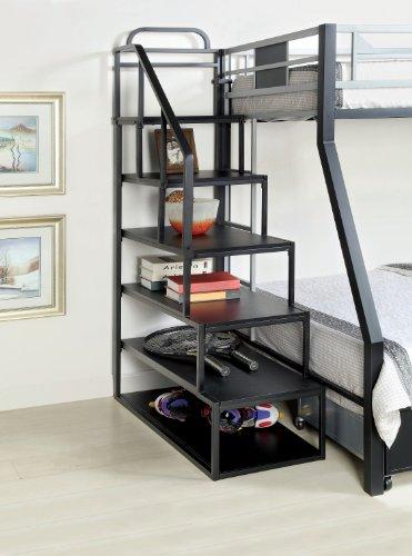 furniture of america metal bunk bed side ladder bookshelf silver and black finish