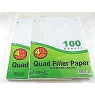 """2 Pk, Bazic 4-1"""" Quad Ruled Filler Paper 100 Ct. Per Set"""