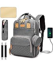 Baby skötryggsäck, firaggit skötväska ryggsäck, multifunktionell vattentät reseryggsäck med stor kapacitet, bärbar skötdyna, napphållare och barnvagnsbälten