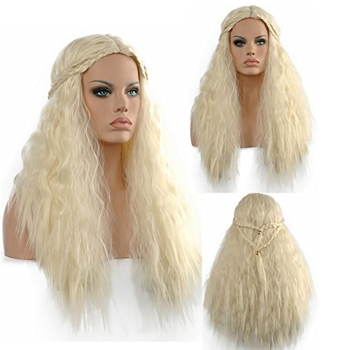[Diy-Wig Long Beige Slight Curly Cosplay Costume Wigs with Beautiful Plait] (Daenerys Targaryen Costume Hair)