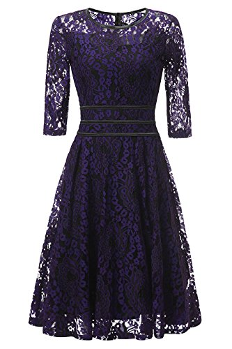 [Gigileer Women's Floral Lace 2/3 Sleeve Cocktail Evening Party Dress (XL(10-12), B&P)] (70s Look For Women)