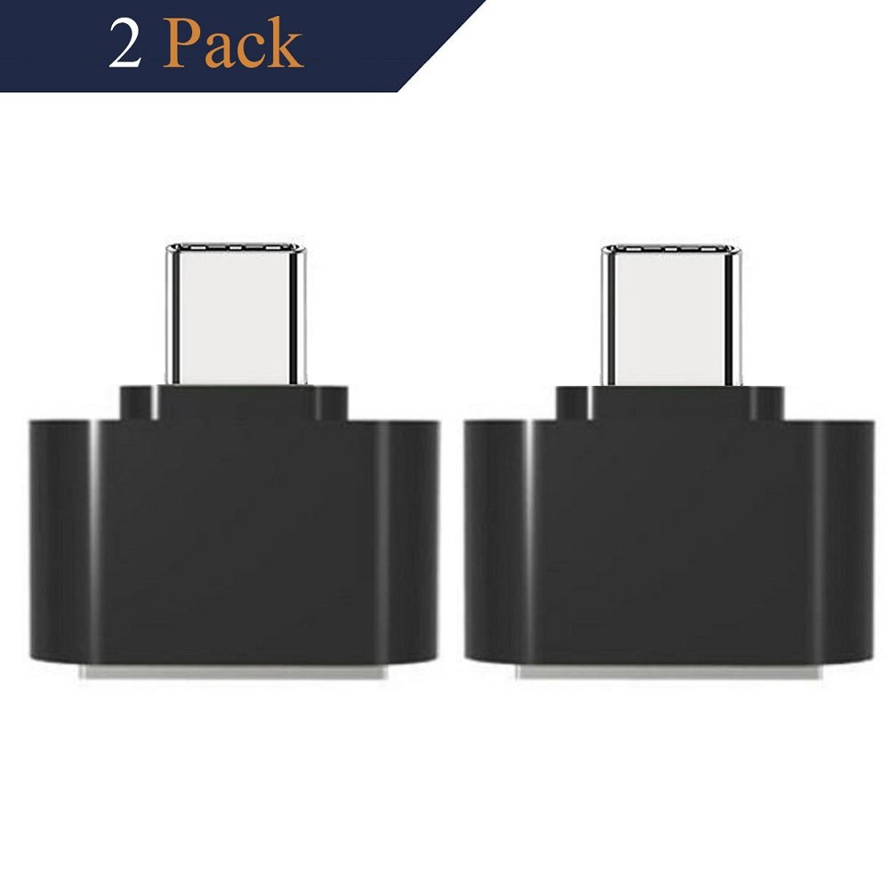 USB C Adapter, USB C to USB 3.0 Adapter Aluminum 2 Pack for Samsung Note 8 S8 S8+, Google Pixel 2 XL, MacBook Pro, Nexus 6P 5X, LG G5 V20, HTC 10 (Black)