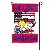 "Snoopy and Schroeder ""We Love America "" Peanuts One Sided Garden Decorative Flag 12″ X 18″ Review"