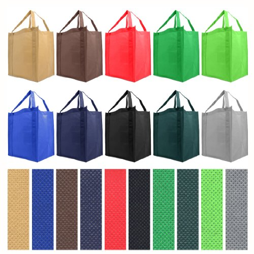 Reusable Reinforced Handle Grocery Tote Bag Large 10 Pack - 10 Color Variety (Shopping Totes)