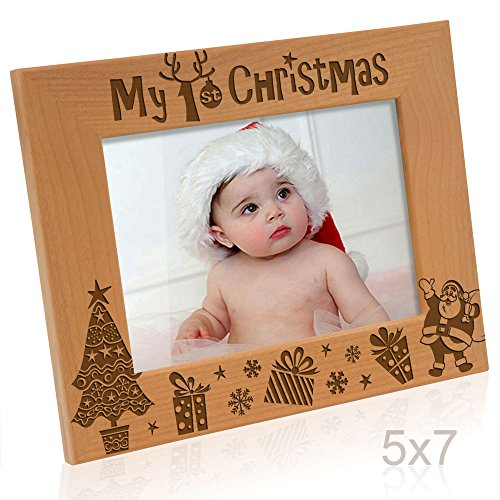 Kate Posh - My First (1st) Christmas Picture Frame, Engraved Natural Wood Photo Frame, Baby's First Christmas Gifts, New Baby Decor, Santa & Me Gifts (5x7-Horizontal)