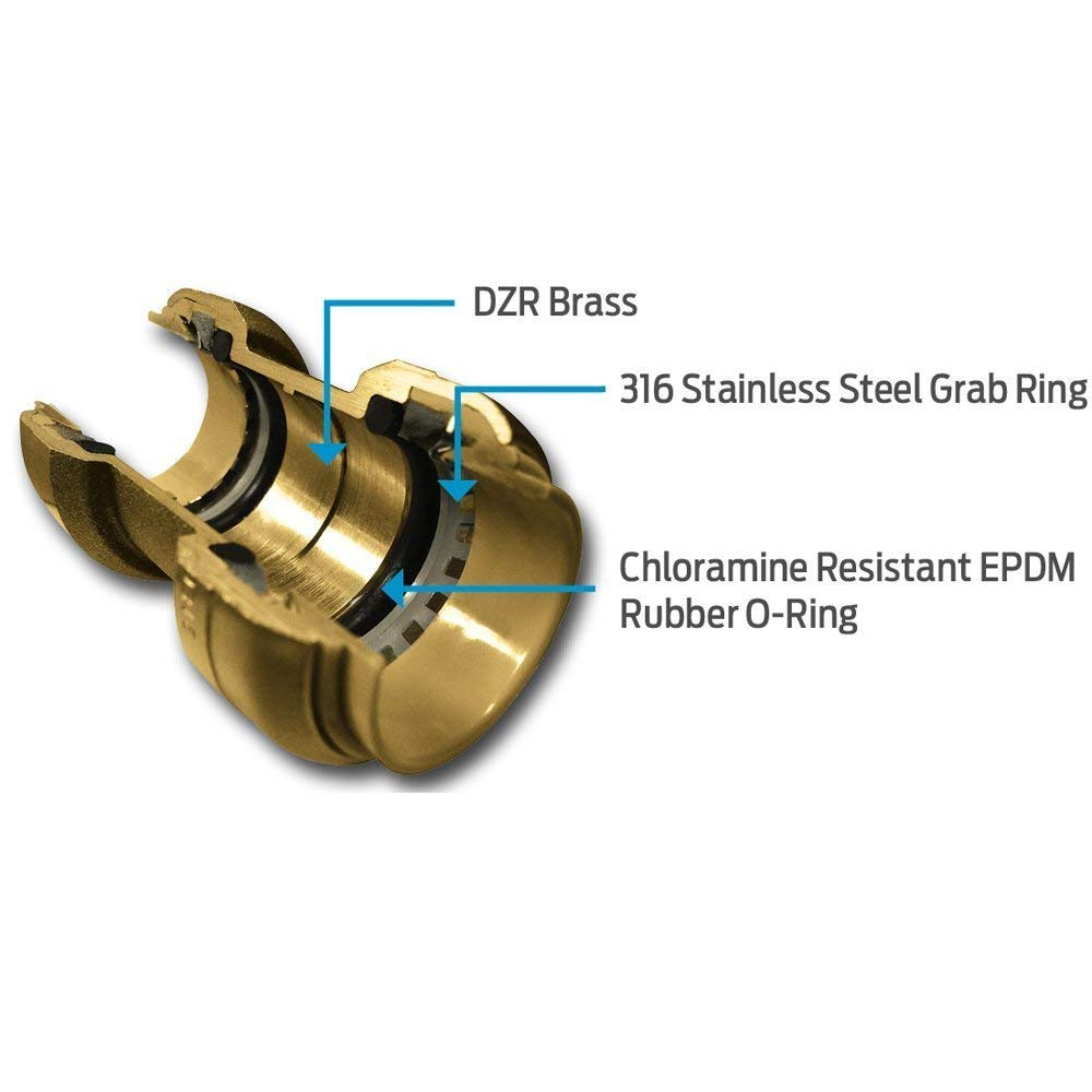 SharkBite UXL08352828 Reducing Tee 1-1//4 Brass