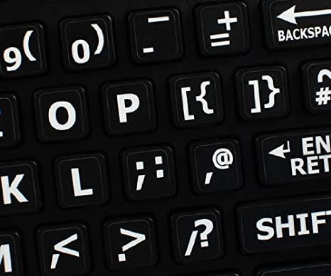 41be0c6d866 Qwerty Keys English UK Large Lettering (Upper Case) Non-Transparent BLACK  Keyboard Stickers With WHITE Letters - Suitable for ANY Keyboard:  Amazon.co.uk: ...