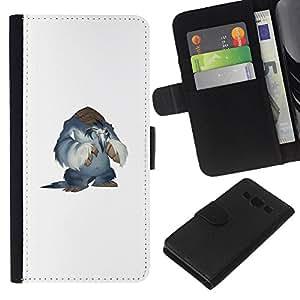 KLONGSHOP // Tirón de la caja Cartera de cuero con ranuras para tarjetas - Monster Yeti - Samsung Galaxy A3 //