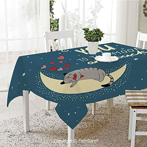 AmaUncle 3D Dinner Print Tablecloths Sleepy Cat Holding Hearts Over The Moon at Night Sky Kitty Caricature Kitchen Rectangular Table Cover (W60 xL104)