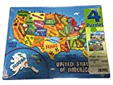 Playmonster Puzzle 4 Pack - 25 Pieces Each - USA States, Zoo, Playground