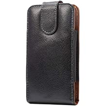 DFV mobile - Magnetic Genuine Leather Holster Executive Case Belt Clip Rotary 360º for => ZTE Nubia N2 (2017) > Black