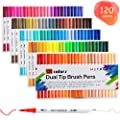 Hethrone Dual Tip Brush Pens with Fine-Liner Tip 0.4, Dual Tip Marker Pens Water Based Ink for DIY Coloring Book, Sketching, Painting, Drawing, Manga Fashion Design(120-Color)