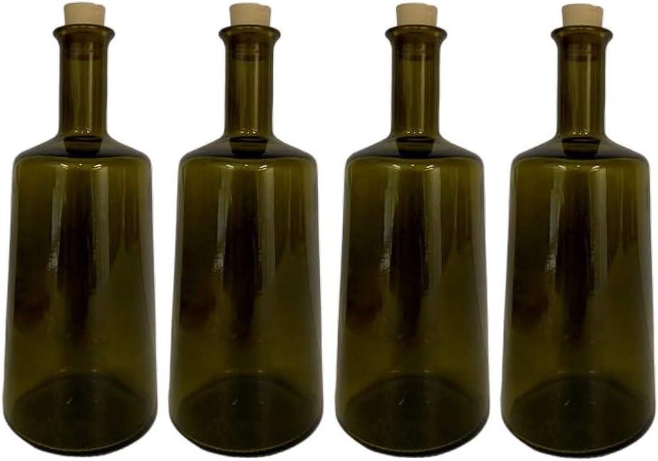 mikken - Juego de 4 Botellas de Aceite (500 ml, con Corcho), Color Verde