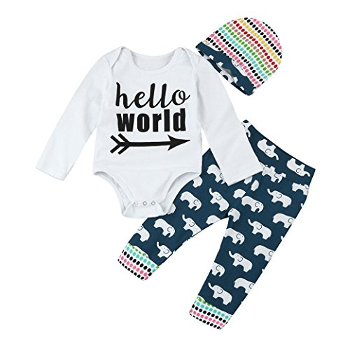 Price comparison product image Forthery Baby 3pcs Set Outfit Long Sleeve Bodysuit Romper+Elephant Pants+Hat Clothes (0-6Months / 70CM, White)