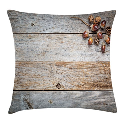 Rustic Home Decor Throw Pillow Cushion Cover by Ambesonne, Acorns and Cones on Weathered and Grained Wooden Back Timber Fall Theme Image, Decorative Square Accent Pillow Case, 16 X 16 Inches, (Acorn Back High Chair)