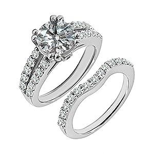 1.4 Carat G-H I2-I3 Diamond Engagement Wedding Anniversary Halo Bridal Ring Set 14K White Gold