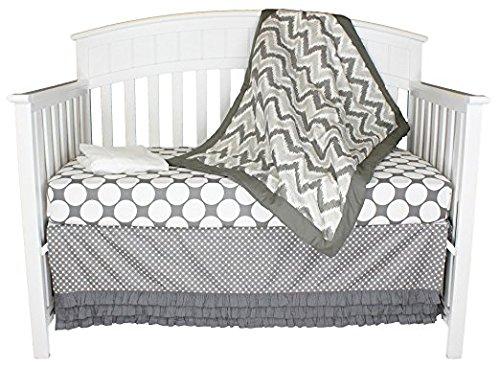 Bacati Zig Zag and Dots 4-in-1 Cotton Baby Crib Bedding Set, Grey ()