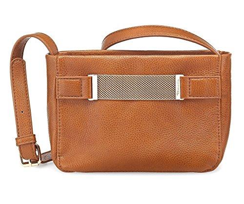 TAMARIS IGGY Damen Handtasche, Crossbody Bag, Umhängetasche, 19x19x8 cm (B x H x T), cognac braun
