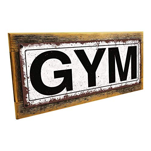 """Homebody Accents Framed Gym 6""""x16"""" Metal Sign, Rustic, Exercise, Workout, Hand-Crafted from Reclaimed Materials"""