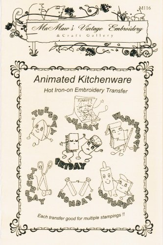 Animated Kitchenware Days-of-the-Week Hot Iron Embroidery Transfers ()