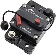 Young Marine Circuit Breaker for Boat Trolling with Manual Reset,Water Proof,12V- 48V DC (Surface Mount-80A)